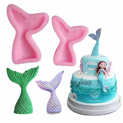 Mermaid Tail Silicone Fondant Mold Cake Decorating Chocolate Candy Mould Tools
