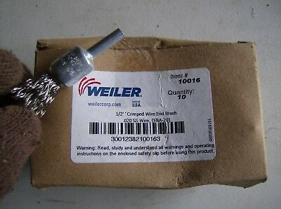 "Box Of 10 Weiler 1/2"" Crimped Wire End Brush 10016"
