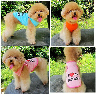 Small Dog Summer Clothes I Love My Mommy Vest Pet Cute T-Shirts Apparel Outfit