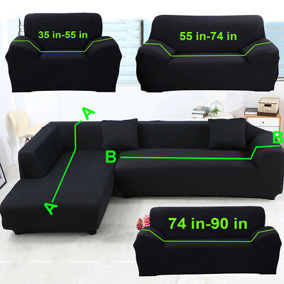 BLACK SECTIONAL CORNER L Shape Sofa Slipcover 1 2 3 4 Seater Stretch Couch  Cover