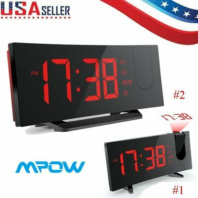 MPOW FM Radio Projection Digital LED Dual Alarm Clock USB Sleep Timer Snooze Red