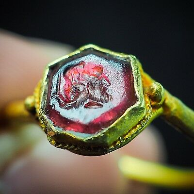 Ancient garnet Intaglio double Lucky Elves Long beard Pure Solid 22K Gold Ring