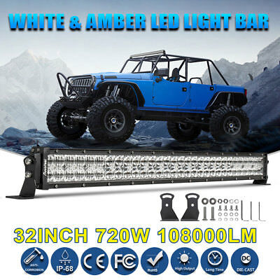 "32""INCH 720W LED Light Bar Combo Beam Work Off road Truck Boat SUV 4WD For Jeep"