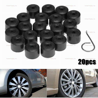 20PCS Wheel Lug Nut Bolt Cap Dust Cover+Hook Kit For VW Volkswagen Audi 17mm