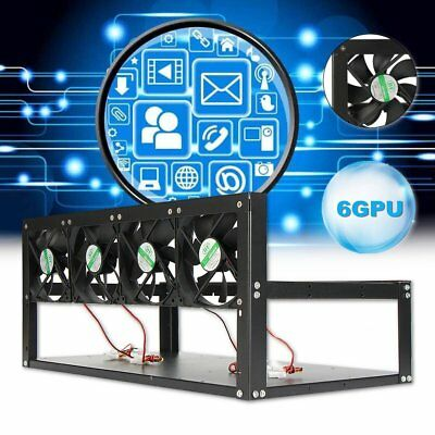 6 GPU Mining Rig Frame With 4 Fan Stackable Aluminum Open Air Miner Case ETH BTC