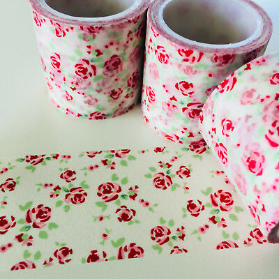 Washi Tape Wide Pink & Mint Floral 40Mm X 5Mtr Planner Craft Wrap Scrap Mail Art