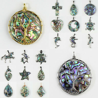 Natural Abalone Shell Tree of Life Heart Round Drop Silver Pendant for Necklace