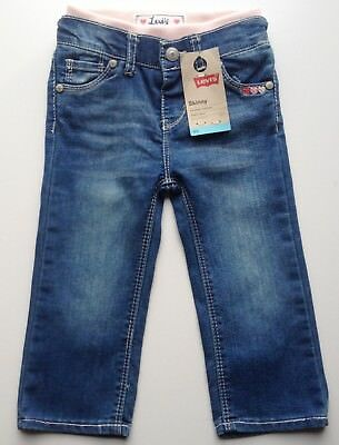 Levis Toddler Girl Skinny Blue Stretch Jean 24M Pink Elastic Waistband