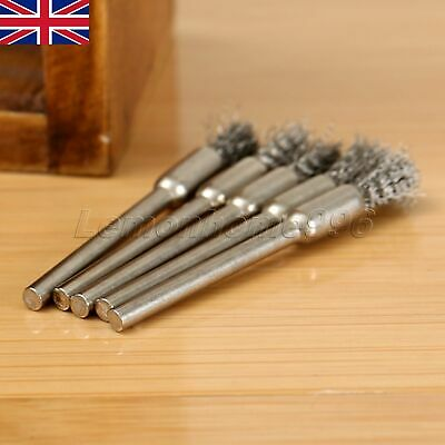 5pc 5mm Steel Pencil Wire Wheel Cup Brushes Kit Accessories Rotary Tool Durable