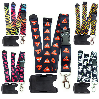 Spirius Lanyard Neck Strap with safety clip + Badge holder for 2 ID cards