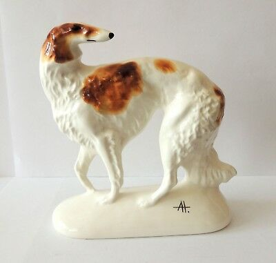 Russian Borzoi Author/'s porcelain figurine grey color NEW Limited Edition