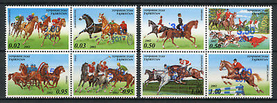 Tajikistan 2017 MNH Equestrian Sports OVPT Polo Racing 2x 4v Block Horses Stamps