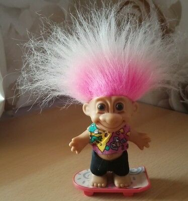 Russ Troll On Skateboard Retro Vintage Collectable Cute Pink Hair