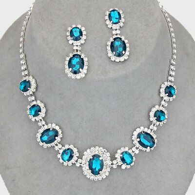 Teal silver tone rhinestone crystal necklace set brides proms party sparkly 249