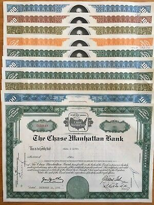 Set 10 Chase Manhattan Bank Stock Certificates - Collectors Edition