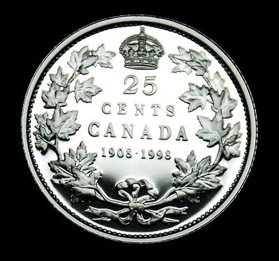 1998 Canadian Proof  25¢  90th Anniversary 1908-1998 mirror finish - RARE