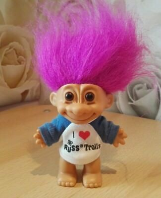 I Love Russ Trolls Retro Vintage Collectable Toy Purple Pink Hair