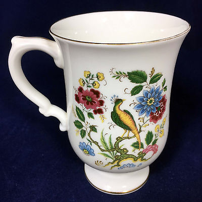 Grand Mug Crown Staffordshire Fine Bone China Bird on Branch Flowers Floral