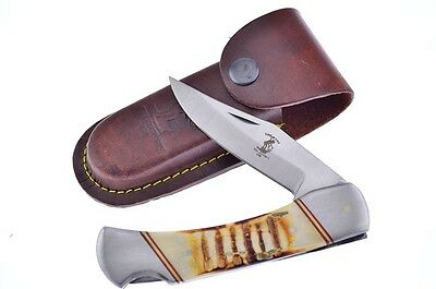 """The Bone Collector Hand Made 5"""" Fossil Stag Bone Handle Lock-Back Folder"""