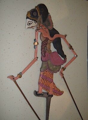 Indonesia CarvedWood Rod Stick Theater Shadow Hand Puppet Java Bali, Signed VTG