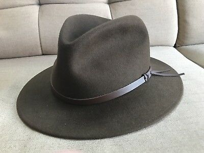 MEN S BATES OF London Brown Fedora Hat With Leather Strap 7 3 4 ... d718fdd590c
