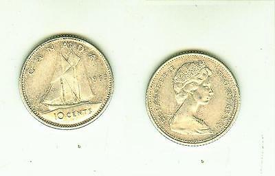 10 Cents 1965  Canada      Silber