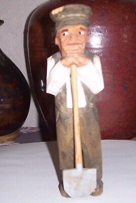 Vintage Folk Art  Hand Carved Wooden man with shovel hand painted