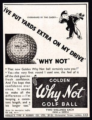 1936 Golden Why Not Golf Ball vintage print ad art