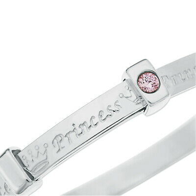 Real Silver Baby's Christening Bangle, Little Princess Bracelet, Pink CZ, Boxed