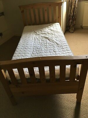 single 3'pine bed with head and foot boards