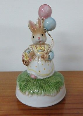 Lefton Easter Bunny Rabbit w/ Balloons Figurine Music Box Plays Peter Cottontail