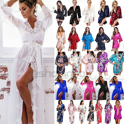 Women Satin Lace Bath Robe Kimono  Bathrobe Gown Wedding Bridesmaid Sleepwear