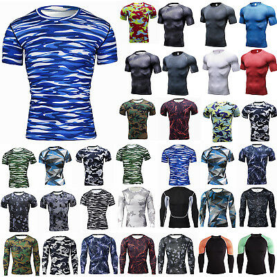 Mens Compression Base Layer Skins Tights Workout Under T-shirt Tee Gym Wear Top