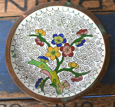 Vintage Asian Chinese Cloisonne Enamel Flowers Blossoms Brass Jewelry Dish Bowl