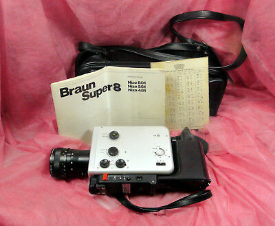 Braun Nizo 561 Super 8mm FILM camera with Case and instructions.