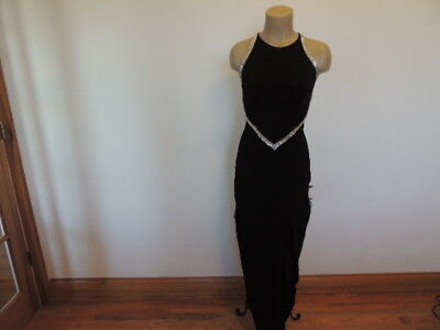 cache size small black triple rows of rhinestones long formal sexy dress