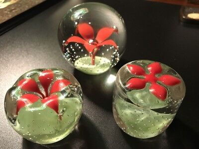 Collection of Beautiful Vintage Wheaton Glass Paperweights Matching Rare Set