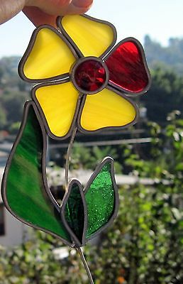 1990s Stained Glass Suncatcher Multi-Colored Glass Thick Daisy Flower # 1 Yellow