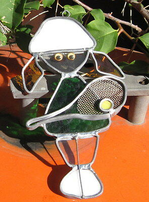 1990s Stained Glass Suncatcher Multi-Colored Glass Girl Tennis Player  # 10