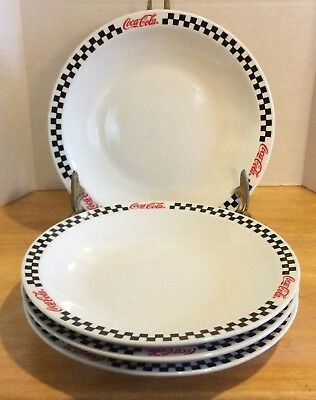 2002 Coca Cola 4 Dessert Salad Plates Black Checkered Gibson 7.75""