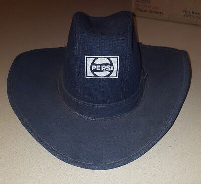 Vintage Pepsi Cowboy Denim Advertising Hat Medium