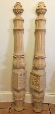 "44"" Architectural Carved Wood Half Post Decor Finial Top Wall Trim Acanthus Leaf"