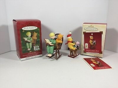 Hallmark Ornaments Winnie the Pooh A Story for Pooh Piglet's First Ride Set of 2