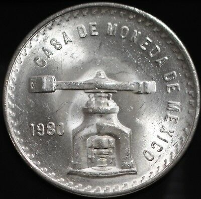 1980 Mo Mexico Una Onza UNC 1 Troy Ounce of Silver, .925 Fineness, 33.625 grams