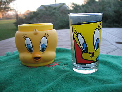 1994 Tweety Bird & Sylvester Drinking Glass~1992 Yellow Tweety Cup~Estate Items~