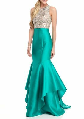 xscape mermaid teal green iridescent crystal brand new tags 4 evening prom gown