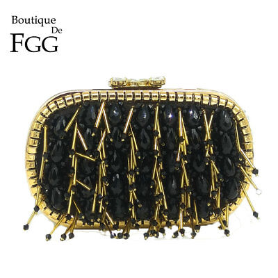 RARE HANDMADE | Vintage Tassel Beaded & Chains Women Evening Bag Metal
