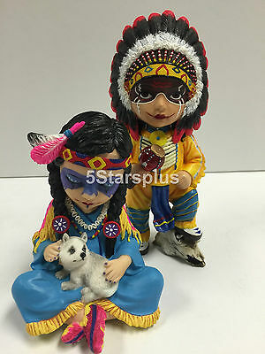Cosplay Kids - Indian Chief & Chief Wife Native-American Statue Sculpture Figure