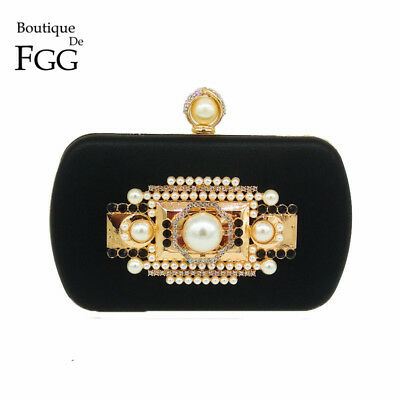 RARE HANDMADE | Gold Metal Appliques Crystal Beaded Women Black Evening Bag