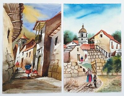 2 signed Latin American watercolor paintings Peru village scenes artist unknown
